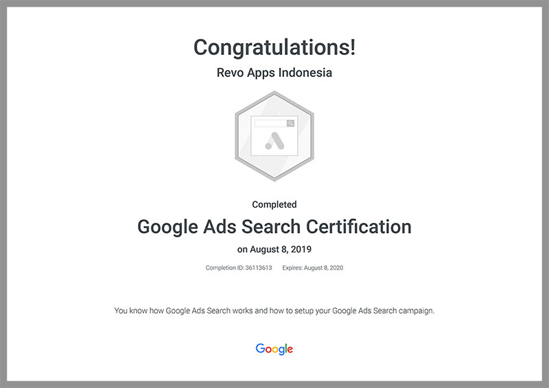Revo-Apps-Google-Ads-Search-Certification