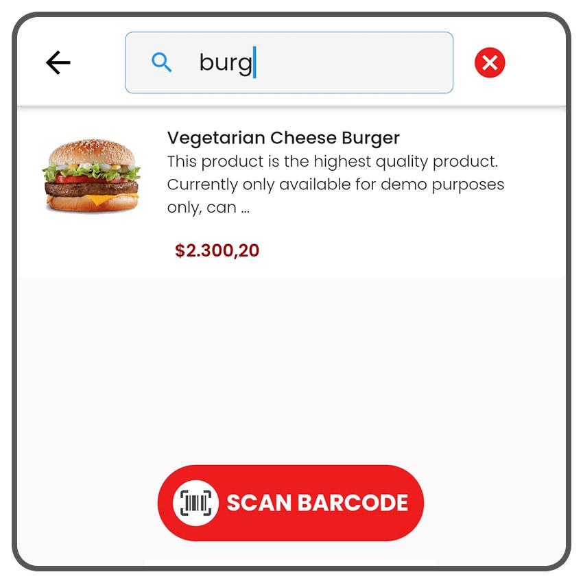 Fitur pencarian cepat seperti Google dan scanner barcode untuk bisnis supermarket / groceries.
